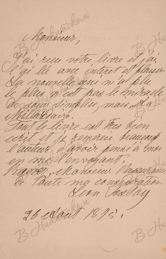 К аукциону № 174 от 22.10.2020. Лот № 105. Толстой, Л.Н. [Автограф]. Письмо к французскому писателю Леону-Анри Барракану. 1895 г.
