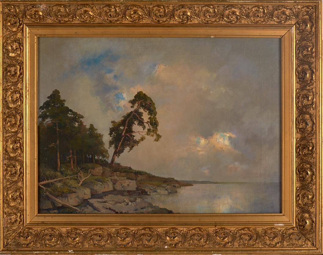 """Аукцион # 193 лот # 8 (аукцион состоится 20 мая) Замечательный пейзаж В.Д. Орловского """"На Валааме"""" 1870-х гг."""